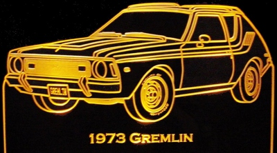 1973 AMC Gremlin Acrylic Lighted Edge Lit LED Sign / Light Up Plaque Full Size Made in USA