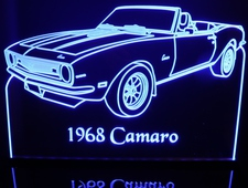1968 Chevrolet Camaro Convertible Acrylic Lighted Edge Lit LED Car Sign / Light Up Plaque Chevy