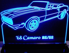 1968 Camaro RS/SS Convertible Acrylic Lighted Edge Lit LED Sign / Light Up Plaque Full Size Made in USA