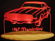 1967 Thunderbird Tbird Acrylic Lighted Edge Lit LED Sign / Light Up Plaque Full Size Made in USA
