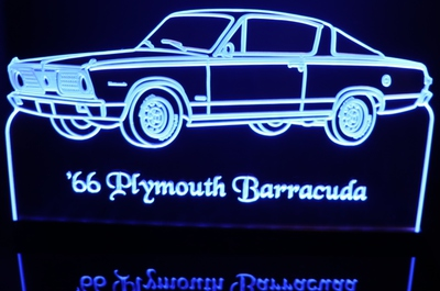 1966 Barracuda Cuda Acrylic Lighted Edge Lit LED Sign / Light Up Plaque Full Size Made in USA