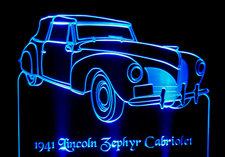 1941 Lincoln Zephyr Cabriolet Acrylic Lighted Edge Lit LED Sign / Light Up Plaque 41