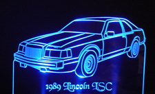 1989 Lincoln LSC Acrylic Lighted Edge Lit LED Car Sign / Light Up Plaque