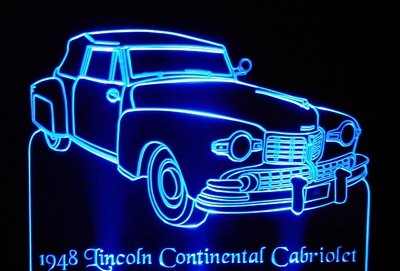1948 Lincoln Continental Cabriolet Acrylic Lighted Edge Lit LED Car Sign / Light Up Plaque