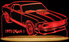 1970 Mustang Mach 1 Acrylic Lighted Edge Lit LED Sign / Light Up Plaque Full Size Made in USA