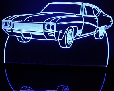 1968 Buick Skylark Acrylic Lighted Edge Lit LED Sign / Light Up Plaque Full Size Made in USA