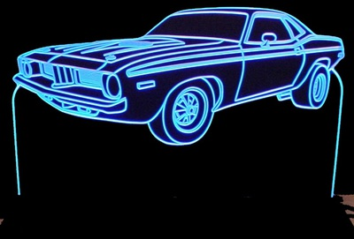 1974 Barracuda Cuda Acrylic Lighted Edge Lit LED Sign / Light Up Plaque Full Size Made in USA