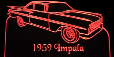 1959 Chevy Chevrolet Impala Acrylic Lighted Edge Lit LED Sign / Light Up Plaque Full Size Made in USA