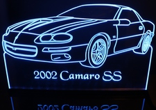 2002 Camaro SS Acrylic Lighted Edge Lit LED Sign / Light Up Plaque Full Size Made in USA