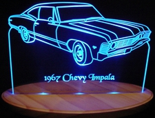 1967 Chevy Impala Acrylic Lighted Edge Lit LED Car Sign / Light Up Plaque Chevrolet
