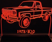 1978 Chevy Pickup Truck K10 Acrylic Lighted Edge Lit LED Sign / Light Up Plaque Full Size Made in USA
