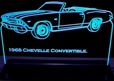 1968 Chevy Chevelle Convertible Acrylic Lighted Edge Lit LED Car Sign / Light Up Plaque Chevrolet