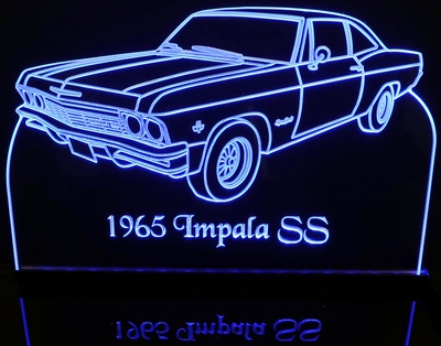 1965 Chevrolet Impala SS Acrylic Lighted Edge Lit LED Car Sign / Light Up Plaque Chevy