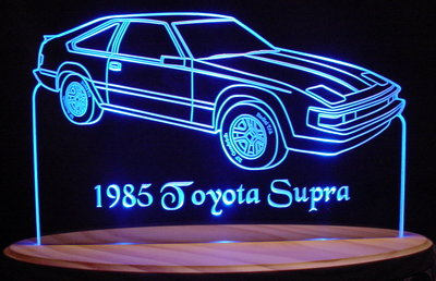 1985 Toyota Supra Acrylic Lighted Edge Lit LED Car Sign / Light Up Plaque