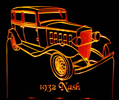 1932 Nash Acrylic Lighted Edge Lit LED Sign / Light Up Plaque Full Size Made in USA