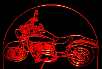 Motorcycle Mean Streak Acrylic Lighted Edge Lit LED Bike Sign / Light Up Plaque