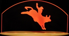 Bull Rider Acrylic Lighted Edge Lit LED Sign / Light Up Plaque Full Size Made in USA