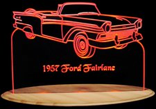 1957 Fairlane 500 Convertible Acrylic Lighted Edge Lit LED Sign / Light Up Plaque Full Size Made in USA