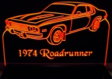 1974 Roadrunner Acrylic Lighted Edge Lit LED Sign / Light Up Plaque Full Size Made in USA
