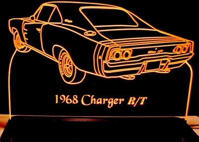 1968 Charger R/t Rear Acrylic Lighted Edge Lit LED Sign / Light Up Plaque Full Size Made in USA