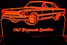 1967 Satellite Acrylic Lighted Edge Lit LED Sign / Light Up Plaque Full Size Made in USA