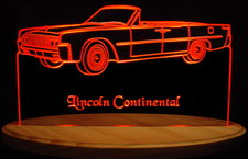 1964 Lincoln Continental Convertible Acrylic Lighted Edge Lit LED Car Sign / Light Up Plaque