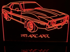 1973 AMC AMX Javelin Acrylic Lighted Edge Lit LED Sign / Light Up Plaque Full Size Made in USA