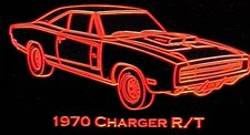 1970 Charger R/T Acrylic Lighted Edge Lit LED Sign / Light Up Plaque Full Size Made in USA