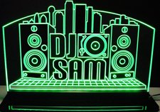 DJ Disc Jockey Band Music Rave Advertising Business Logo Acrylic Lighted Edge Lit LED Sign / Light Up Plaque Full Size Made in USA