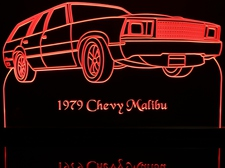 1979 Malibu SW Station Wagon Acrylic Lighted Edge Lit LED Sign / Light Up Plaque Full Size Made in USA