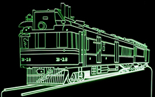 Train Locomotive Engine Acrylic Lighted Edge Lit LED Sign / Light Up Plaque