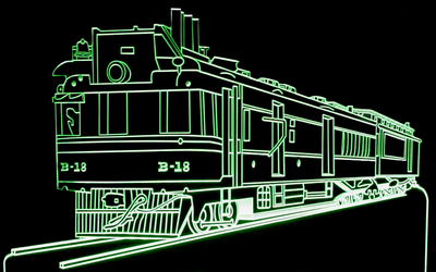 Train Locomotive Engine Acrylic Lighted Edge Lit LED Sign / Light Up Plaque Full Size Made in USA