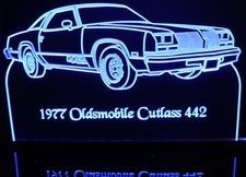 1977 Olds Cutlass 442 RH Acrylic Lighted Edge Lit LED Sign / Light Up Plaque Full Size Made in USA