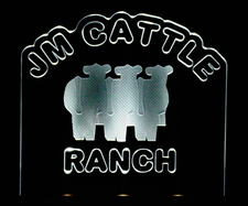 JM Cattle  SAMPLE ONLY Advertising Business Logo Acrylic Lighted Edge Lit LED Sign / Light Up Plaque