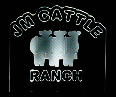 JM Cattle Advertising Business Logo Acrylic Lighted Edge Lit LED Sign / Light Up Plaque Full Size Made in USA