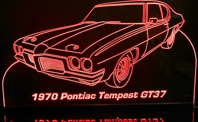 1970 Tempest GT37 Acrylic Lighted Edge Lit LED Sign / Light Up Plaque Full Size Made in USA