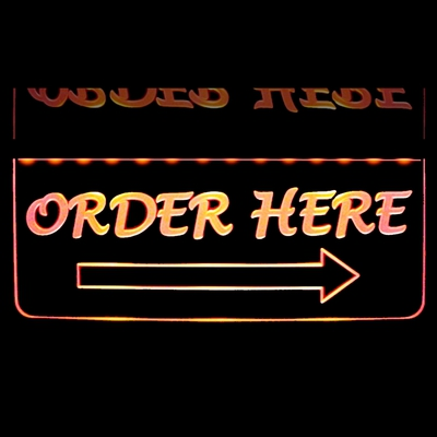 Order Here Place Your Order Here Restaurant Sign Acrylic Lighted Edge Lit LED Sign / Light Up Plaque Full Size Made in USA