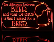Beer Bar Sign Difference Between Opinion Acrylic Lighted Edge Lit LED Sign / Light Up Plaque Full Size Made in USA