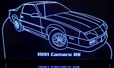 1991 Camaro RS Acrylic Lighted Edge Lit LED Sign / Light Up Plaque Full Size Made in USA