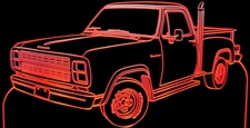 1979 Dodge Pickup PU Acrylic Lighted Edge Lit LED Sign / Light Up Plaque Full Size Made in USA