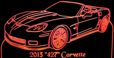 2013 Corvette Convertible 427 Acrylic Lighted Edge Lit LED Sign / Light Up Plaque Full Size Made in USA