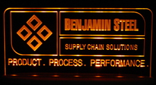 Benjamin Steel SAMPLE ONLY Advertising Business Logo Acrylic Lighted Edge Lit Led Sign / Light Up Plaque