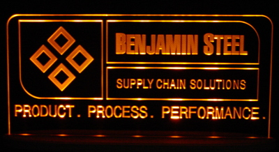 Benjamin Steel Business logo sign Acrylic Lighted Edge Lit LED Sign / Light Up Plaque Full Size Made in USA