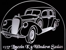 1937 Lincoln K2 Window Sedan Acrylic Lighted Edge Lit LED Car Sign / Light Up Plaque