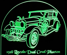 1928 Lincoln Continental Dual Cowl Phaeton Acrylic Lighted Edge Lit LED Car Sign / Light Up Plaque