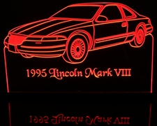 1995 Lincoln Mark VIII Acrylic Lighted Edge Lit LED Car Sign / Light Up Plaque