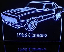 1968 Chevy Camaro Acrylic Lighted Edge Lit LED Car Sign / Light Up Plaque Chevrolet