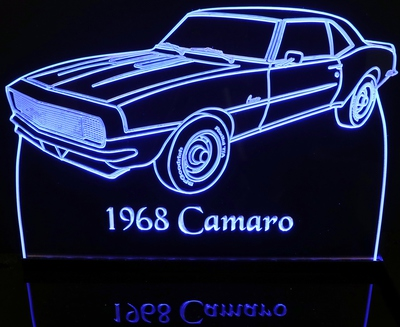 1968 Chevy Camaro Acrylic Lighted Edge Lit LED Sign / Light Up Plaque Chevrolet Full Size Made in USA