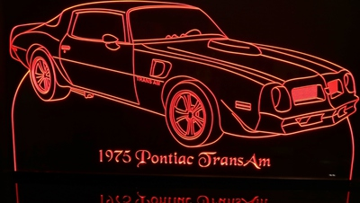 1975 Pontiac Trans Am Acrylic Lighted Edge Lit LED Sign / Light Up Plaque Full Size Made in USA