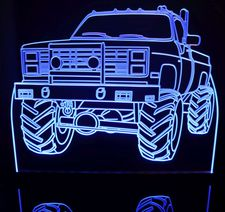1987 Chevy Pickup Truck Acrylic Lighted Edge Lit LED Sign / Light Up Plaque Full Size Made in USA